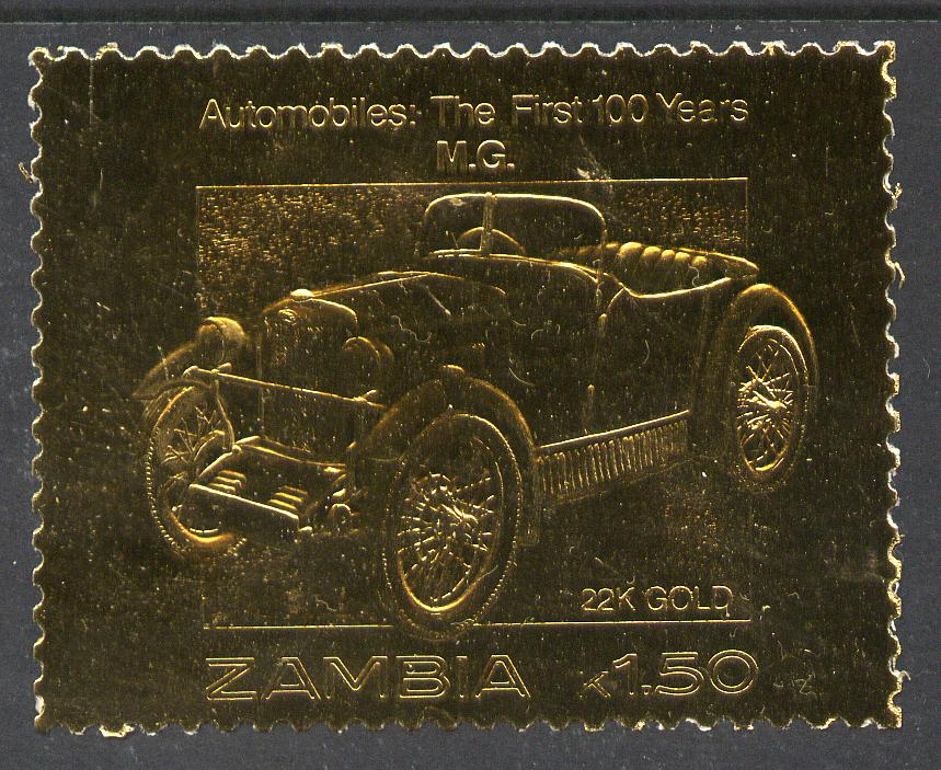 Zambia 1987 Classic Cars 1k50 MG in 22k gold foil unmounted mint