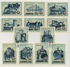 Match Box Labels - complete set of 12 Castles (green) superb unused condition (Yugoslavian Drava series)