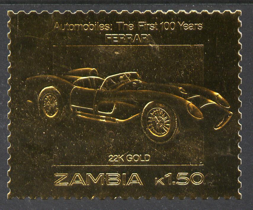 Zambia 1987 Classic Cars 1k50 Ferrari in 22k gold foil unmounted mint