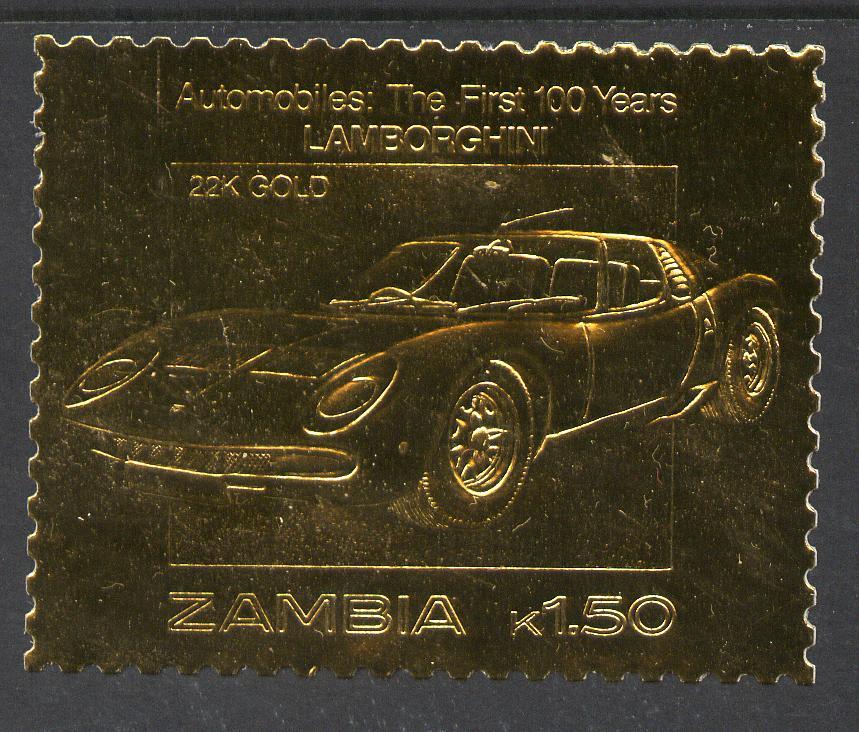 Zambia 1987 Classic Cars 1k50 Lamborghini in 22k gold foil unmounted mint