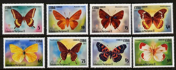 Cuba 2013 Butterflies perf set of 8 unmounted mint