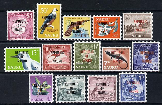 Nauru 1968 Republic Overprint definitive set complete - 14 values unmounted mint SG 80-93