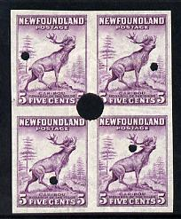 Newfoundland 1941-44 KG6 Caribou 5c imperf marginal PROOF block of 4 each stamp with Waterlow security punch hole, some wrinkles but a scarce KG6 item (as SG 280)