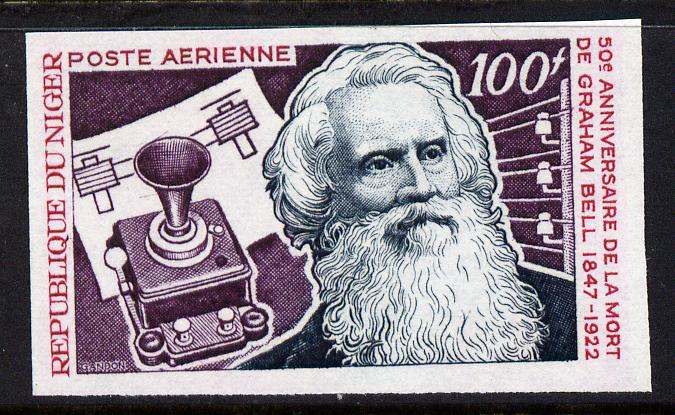 Niger Republic 1972 Alexander Graham Bell 100f imperf unmounted mint, as SG 440