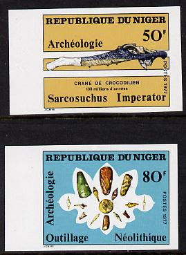 Niger Republic 1977 Archaeology set of two imperf unmounted mint as SG 704-5
