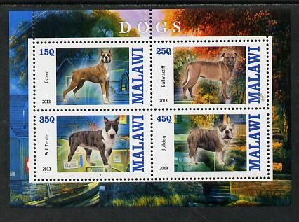 Malawi 2013 Dogs #1 perf sheetlet containing 4 values unmounted mint