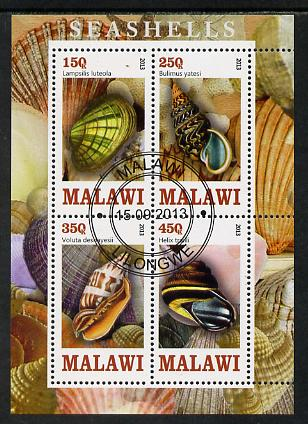 Malawi 2013 Shells perf sheetlet containing 4 values fine cds used, stamps on marine life, stamps on shells