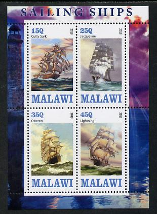 Malawi 2013 Sailing Ships #1 perf sheetlet containing 4 values unmounted mint, stamps on ships
