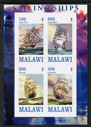 Malawi 2013 Sailing Ships #1 imperf sheetlet containing 4 values unmounted mint