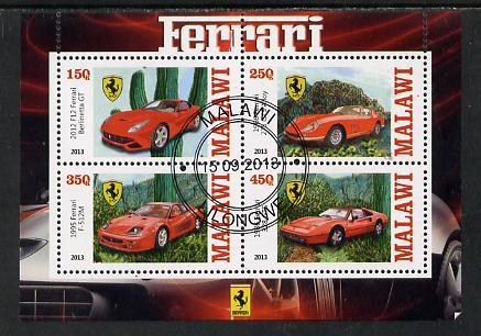 Malawi 2013 Ferrari Cars #1 perf sheetlet containing 4 values fine cds used