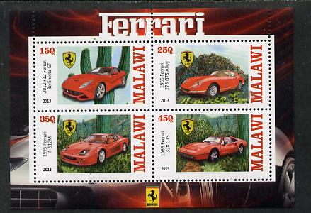 Malawi 2013 Ferrari Cars #1 perf sheetlet containing 4 values unmounted mint, stamps on cars, stamps on ferrari