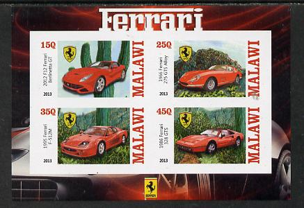 Malawi 2013 Ferrari Cars #1 imperf sheetlet containing 4 values unmounted mint
