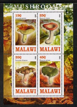 Malawi 2013 Fungi #1 perf sheetlet containing 4 values unmounted mint