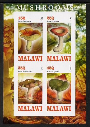 Malawi 2013 Fungi #1 imperf sheetlet containing 4 values unmounted mint