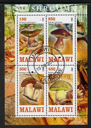 Malawi 2013 Fungi #2 perf sheetlet containing 4 values fine cds used