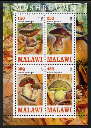Malawi 2013 Fungi #2 perf sheetlet containing 4 values unmounted mint