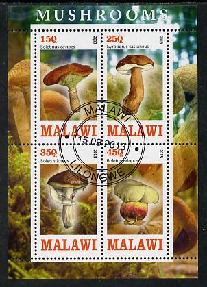 Malawi 2013 Fungi #3 perf sheetlet containing 4 values fine cds used