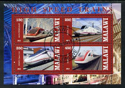 Malawi 2013 High Speed Trains #1 perf sheetlet containing 4 values fine cds used