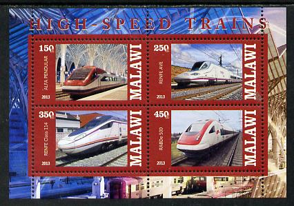 Malawi 2013 High Speed Trains #1 perf sheetlet containing 4 values unmounted mint