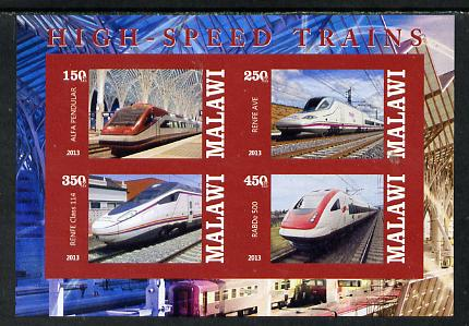 Malawi 2013 High Speed Trains #1 imperf sheetlet containing 4 values unmounted mint