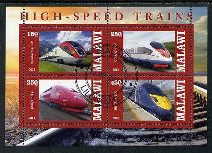 Malawi 2013 High Speed Trains #2 perf sheetlet containing 4 values fine cds used