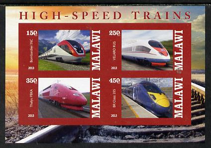 Malawi 2013 High Speed Trains #2 imperf sheetlet containing 4 values unmounted mint