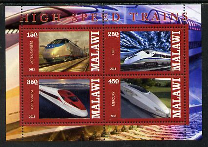 Malawi 2013 High Speed Trains #3 perf sheetlet containing 4 values unmounted mint