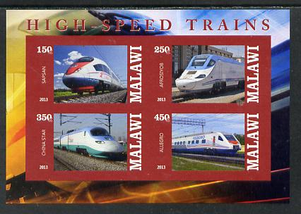 Malawi 2013 High Speed Trains #4 imperf sheetlet containing 4 values unmounted mint