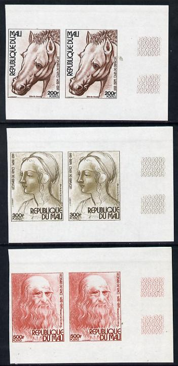 Mali 1977 525th Birth Anniversay of Leonardo da Vinci set of 3 in imperf pairs unmounted mint, as SG 602-604