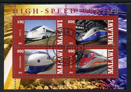 Malawi 2013 High Speed Trains #5 perf sheetlet containing 4 values fine cds used