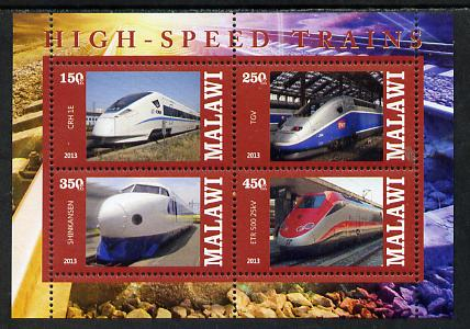 Malawi 2013 High Speed Trains #5 perf sheetlet containing 4 values unmounted mint