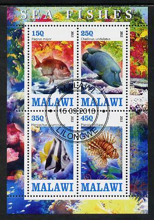 Malawi 2013 Fish #1 perf sheetlet containing 4 values fine cds used