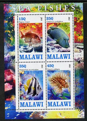 Malawi 2013 Fish #1 perf sheetlet containing 4 values unmounted mint