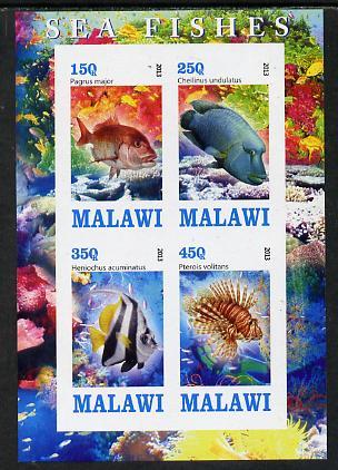 Malawi 2013 Fish #1 imperf sheetlet containing 4 values unmounted mint