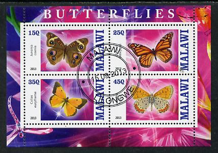 Malawi 2013 Butterflies #1 perf sheetlet containing 4 values fine cds used