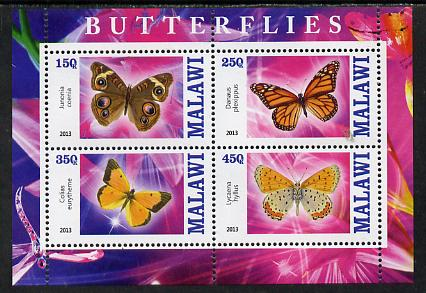 Malawi 2013 Butterflies #1 perf sheetlet containing 4 values unmounted mint