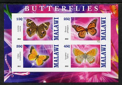 Malawi 2013 Butterflies #1 imperf sheetlet containing 4 values unmounted mint