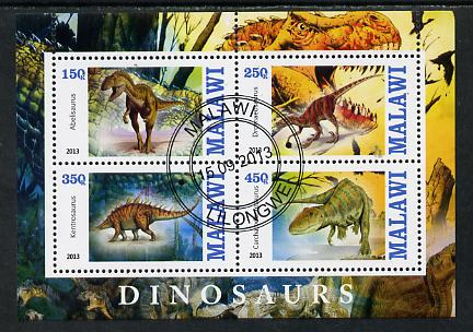 Malawi 2013 Dinosaurs #1 perf sheetlet containing 4 values fine cds used