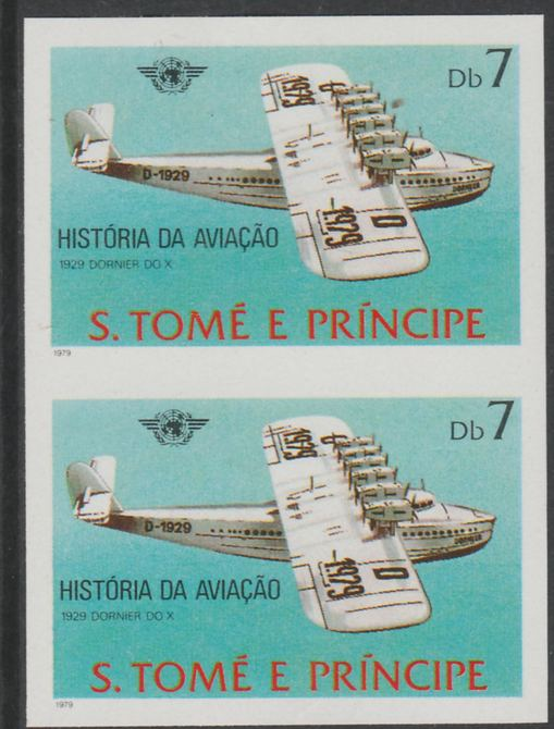 St Thomas & Prince Islands 1979 Aviation History 7Db (Dornier DO X) imperf proof pair in issued colours on ungummed paper