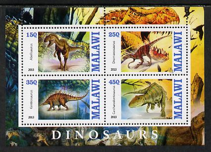 Malawi 2013 Dinosaurs #1 perf sheetlet containing 4 values unmounted mint