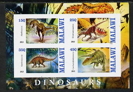 Malawi 2013 Dinosaurs #1 imperf sheetlet containing 4 values unmounted mint