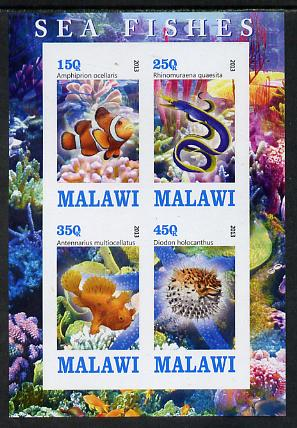 Malawi 2013 Fish #2 imperf sheetlet containing 4 values unmounted mint
