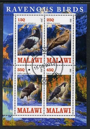 Malawi 2013 Birds of Prey perf sheetlet containing 4 values fine cds used