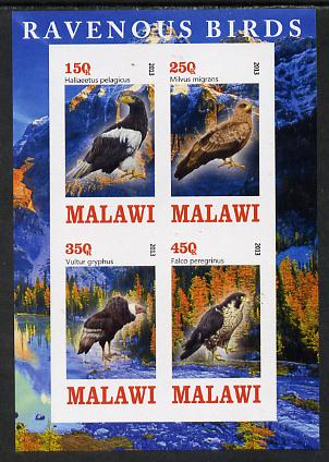 Malawi 2013 Birds of Prey imperf sheetlet containing 4 values unmounted mint