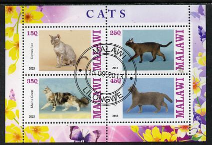 Malawi 2013 Domestic Cats #1 perf sheetlet containing 4 values fine cds used