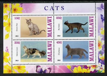 Malawi 2013 Domestic Cats #1 perf sheetlet containing 4 values unmounted mint