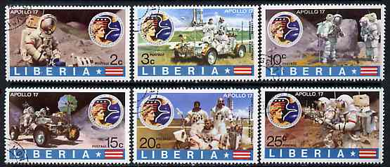 Liberia 1973 Moon Flight of Apollo 17 set of 6 cto used, SG 1142-47*