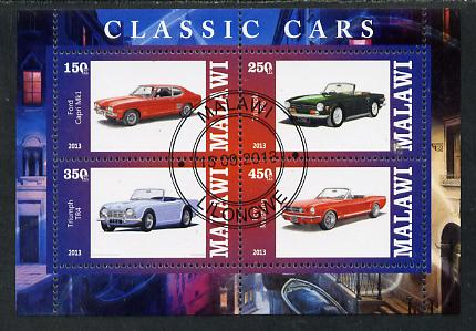 Malawi 2013 Classic Cars #1 perf sheetlet containing 4 values fine cds used