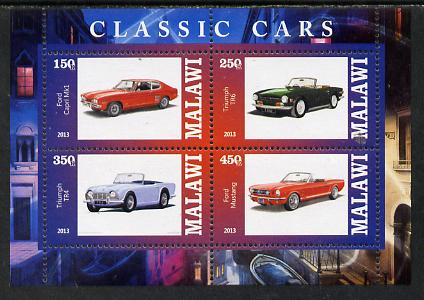 Malawi 2013 Classic Cars #1 perf sheetlet containing 4 values unmounted mint