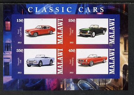 Malawi 2013 Classic Cars #1 imperf sheetlet containing 4 values unmounted mint